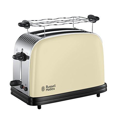 Russell Hobbs Toaster Colours+ creme, 2 extra breite Toastschlitze, inkl. Brötchenaufsatz, 6...