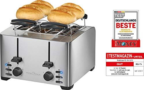ProfiCook PC-TA 1073 4-Scheiben-Toaster, Edelstahlgehäuse, 2x Brötchenaufsatz, stufenlos...